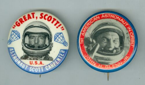 2 Scarce 1962 John Glenn, Mercury 6 & Scott Carpenter, Mercury 7 Astronauts Pins