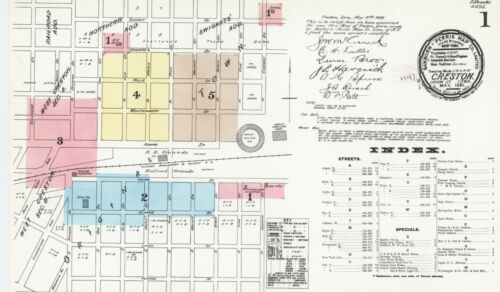 Creston, Iowa~Sanborn Map© sheets~with 60 maps in full color on a CD~PDF format