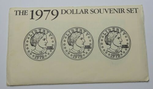 1979 US Mint Susan B. Anthony Dollar Souvenir 3-Coin Set - P, D, & S w/ OGP