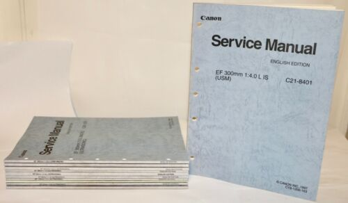 Canon Factory EF & TS-E Fixed Lens Service Manuals in English Set Of 10 Books