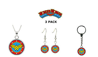 Wonder Woman DC Comics 3 Pack Necklace Earring Keychain Gift Set