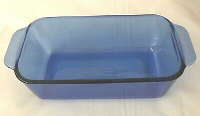 PYREX COBALT BLUE 213-R Glass Meat Loaf Bread Pan/Baking Dish  1-1/2 Qt