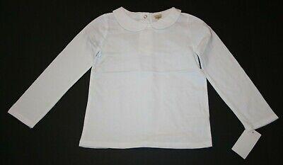New OshKosh Girls Solid White Peter Pan Collar Shirt Top LS NWT 18 24m 2T 3 4
