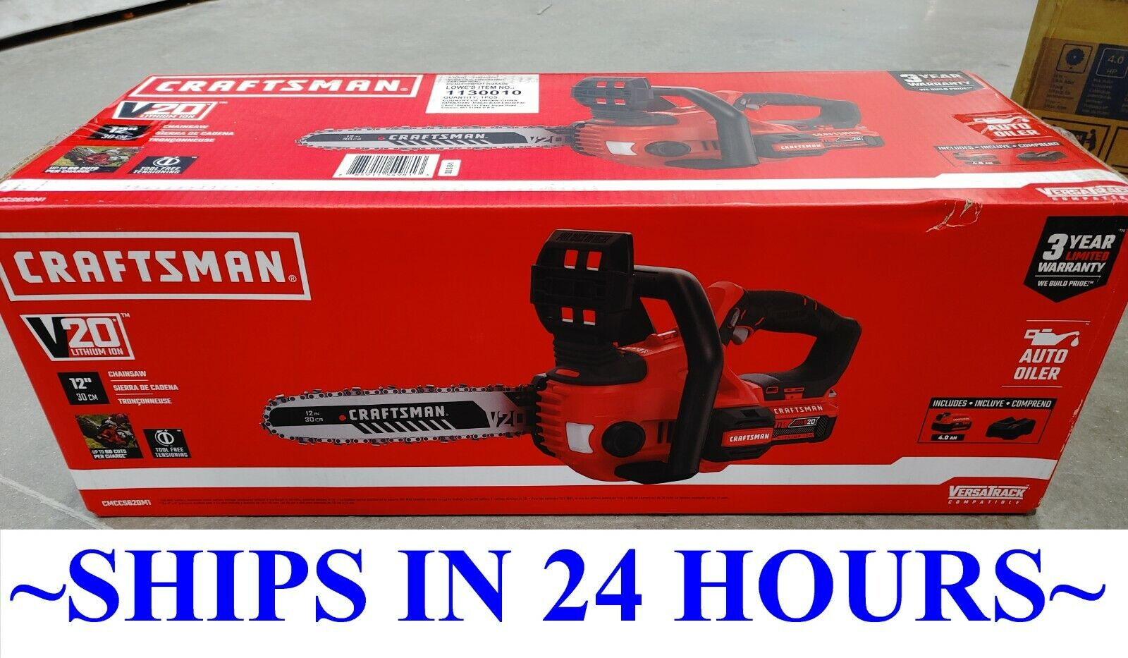 """CRAFTSMAN CMCCS620M1 V20 12"""" Cordless Compact Chainsaw"""