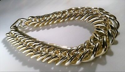 Chunky Gold Tone Chain Necklace Plastic Rich Baller Rapper DJ Outfit Costume HOT