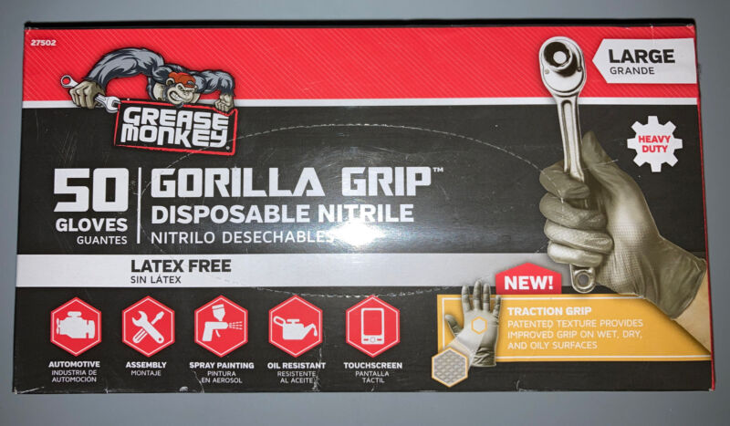 50 Ct Grease Monkey Industrial Work Disposable Gloves Nitrile Extra Grip Size L