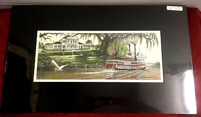 "Color Art Print Riverboat Natchez New Orleans Plantation River Live oak 5"" x 13"""