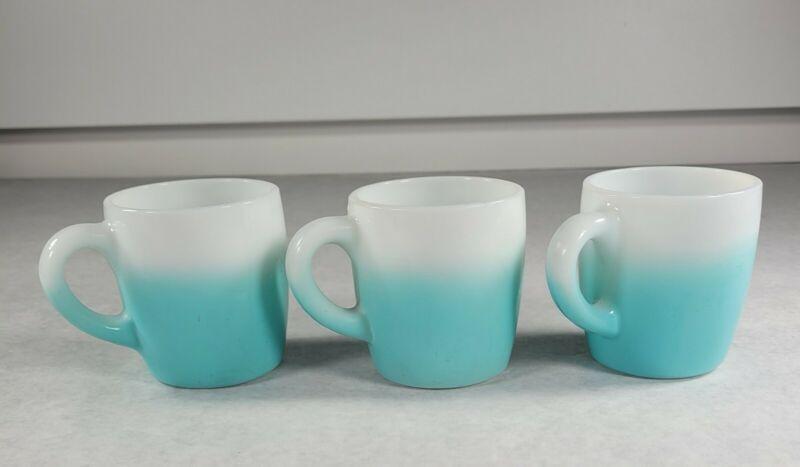 Lot Of 3 Vintage MCM Hazel Atlas? Teal Blue Milkglass Ombre Coffee Cup Mug RARE