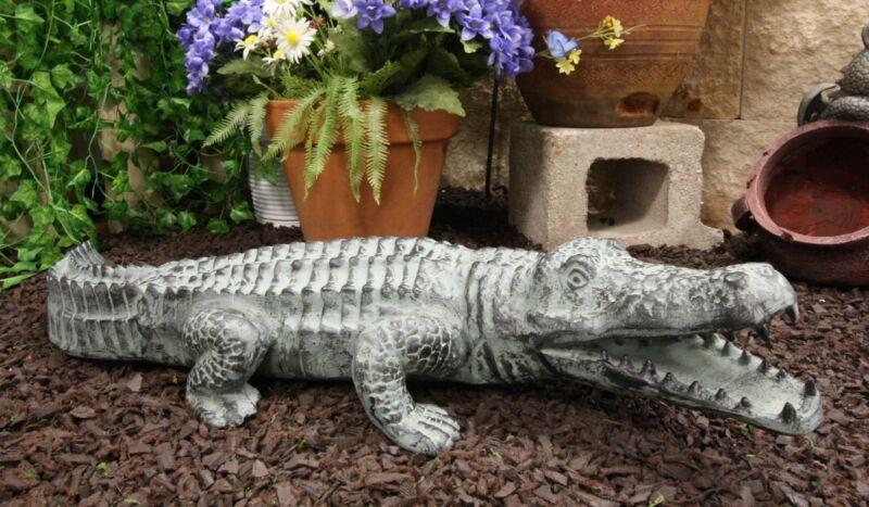 "Large 32""L Aluminum Metal Realistic Snapping Alligator Crocodile Garden Statue"
