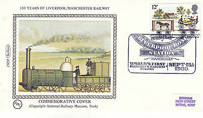 15 SEPT 1980 LIVERPOOL & MANCHESTER RAILWAY BENHAM SILK COVER LIVERPOOL ROADSHS