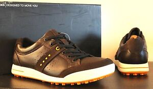 $160 ECCO GOLF STREET PREMIERE MENS CAMEL LEATHER WATERPROOF GOLF SHOE 11-11.5
