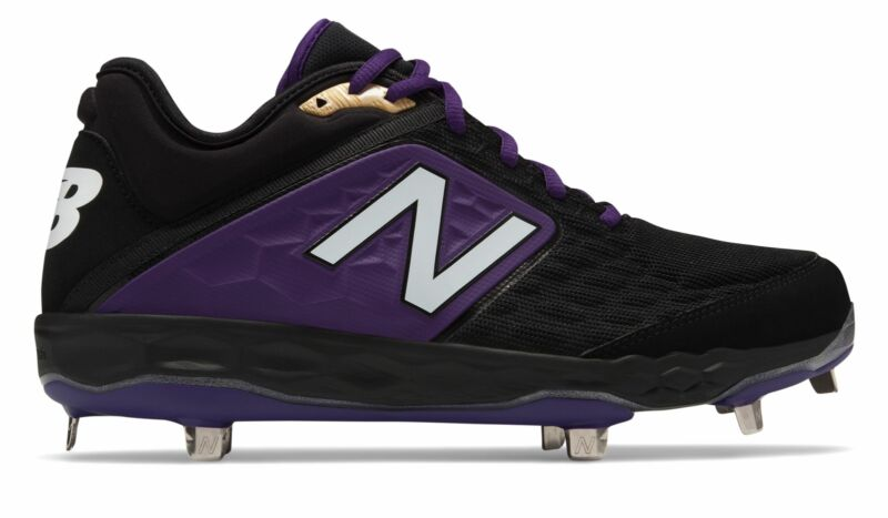 New Balance Low-Cut 3000v4 Metal Baseball Cleat Mens Shoes Black with Purple