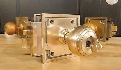 Vintage Corbin Brass Door Knob Lock Set w/ Key OUT-SWING Art Deco Hardware
