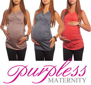 New-MATERNITY-V-NECK-TOP-Pregnancy-Clothing-Wear-Size-8-10-12-14-16-18-Tops-5104