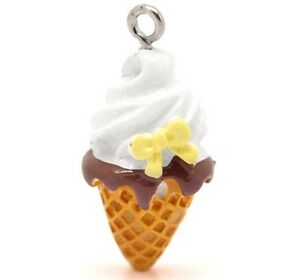 4 Flat Back Ice Cream Cone Charms for Jewelry or Crafts 26 x 13 mm USA Seller