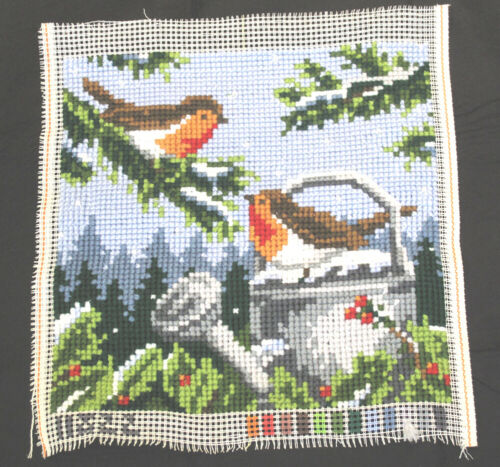 Brown Bird Needlepoint Finished Piece Water Can Holly Red Berries Large Stitch