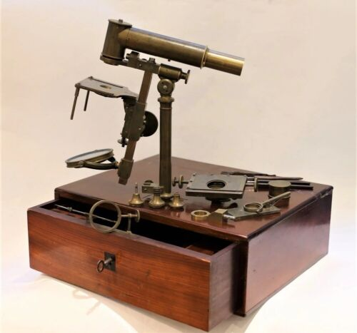 An unfinished French universal achromatic microscope, maybe by Buron, circa 1840