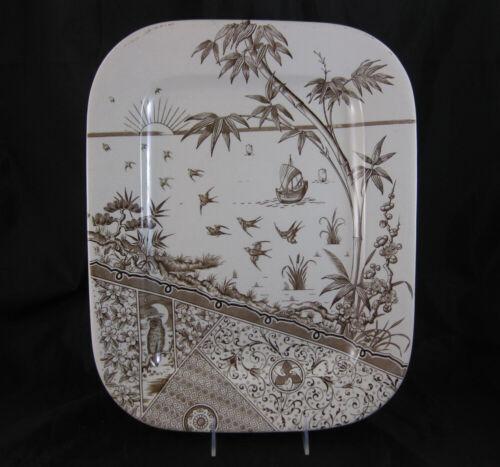 Large Aesthetic Brown Transferware Platter - Melbourne 1881