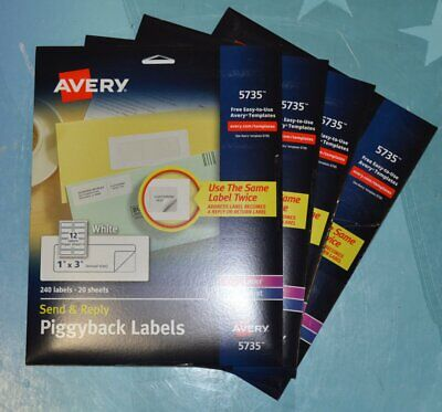 Lot Of 4 Avery Send Reply Printer Labels 1-58 X 4 White 240 Labels 5735