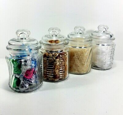 Candy Jar 8oz with Airtight Lid Cool Glass Vintage Style Collectibles Set of 4  ()