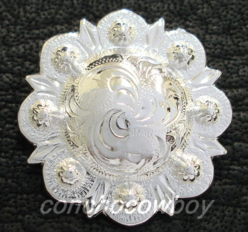 WESTERN HORSE TACK BRIGHT SILVER ENGRAVED BERRY CONCHOS screw back Multi size