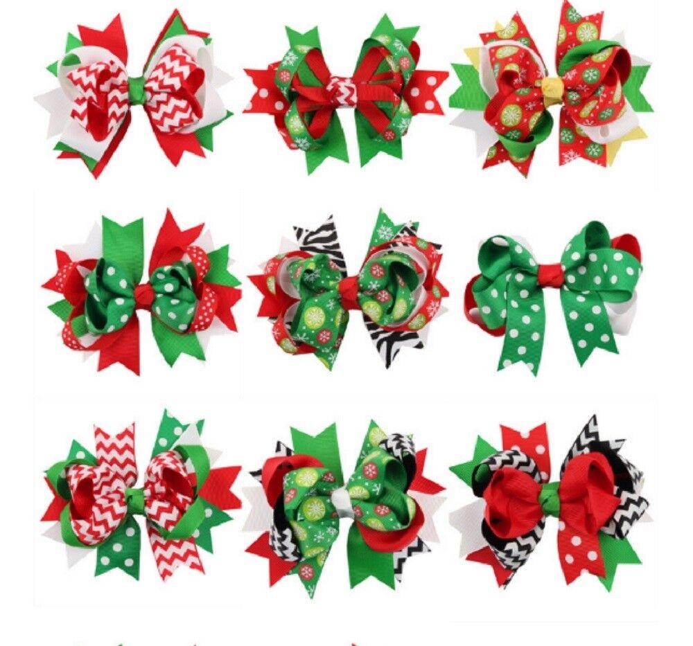 9 Pcs Girl Christmas Holiday Gift Snowflake Ribbon Hair Bows Clip Girl Hairpin Baby