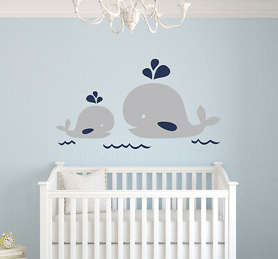 Mom Wall - Nautical Mom and Baby Whale Wall Decal Nautical Nursery Decor Vinyl Sticker