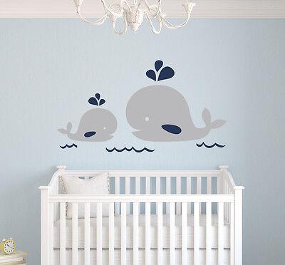 Nautical Mom and Baby Whale Wall Decal Nautical Nursery Decor Vinyl Sticker