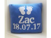 Hand Knitted Pitter Patter Personalised Baby Toddler Cushion Christmas Present