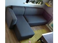 3 Seater Corner Sofa Charcoal Fabric, Left Hand Facing
