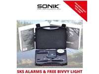Sonik SKS 3+1 Bite Alarm Set With FREE Bivvy Light - Brand new, sealed and unused!