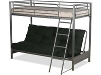 Humza Amani FUTON BUNK BED and with black futon mattress (top mattress at extra cost)