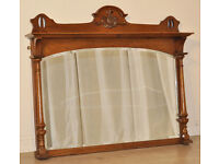 Attractive Antique Victorian Carved Oak Overmantle Bevelled Arch Top Mirror