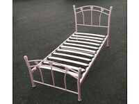 Pink single metal bedframe in VGC / Free delivery available