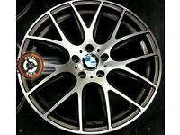 "19"" Genuine AXE BMW alloys, staggered fitment, diamond cut/gloss black"