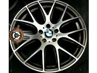"19"" Genuine AXE BMW alloys, staggered fitment, diamond cut/gloss black."