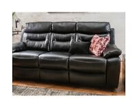 Brand new boxed 3 seater plus 2 seater maestro black leather reclining sofas