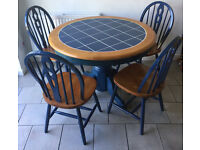 Wood & Tile Circular Kitchen Dining Table and 4 Wood Chairs