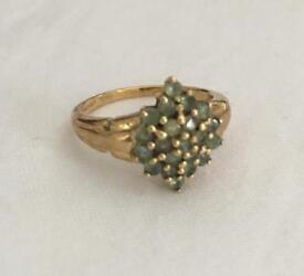 Vintage 9ct Gold Emerald Cluster Ring Size M1/2