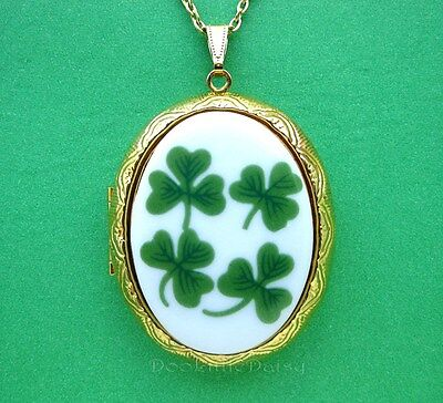 Saint Patrick's Day Porcelain IRISH SHAMROCKS Cameo GT Locket Necklace Festivals