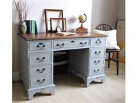 Vintage Shabby Chic Painted Twin Pedestal Desk. We deliver