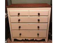 Antique vintage shabby chic off white chest of drawers