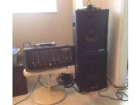 SOUNDTECH 306D AMPLIFIER, PAIR OF SKY TEC SPEAKERS, 2 MICROPHONES & LEADS