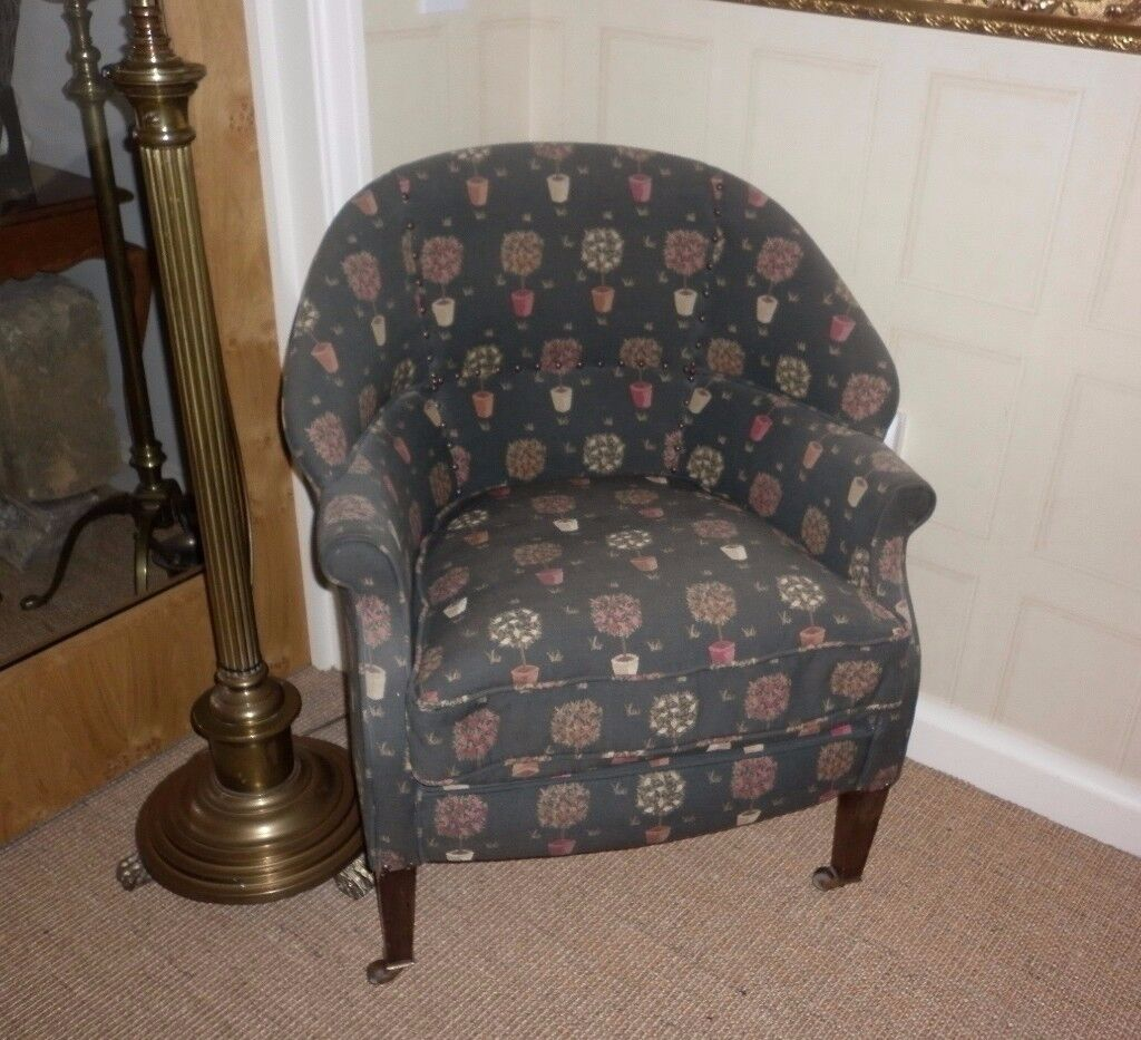 Antique Chair on Casters.Traditionally & Professionally Upholstered in John Lewis Tapestry