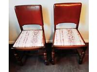 DELIVERY AVAILABLE Pair of leather-backed oak chairs