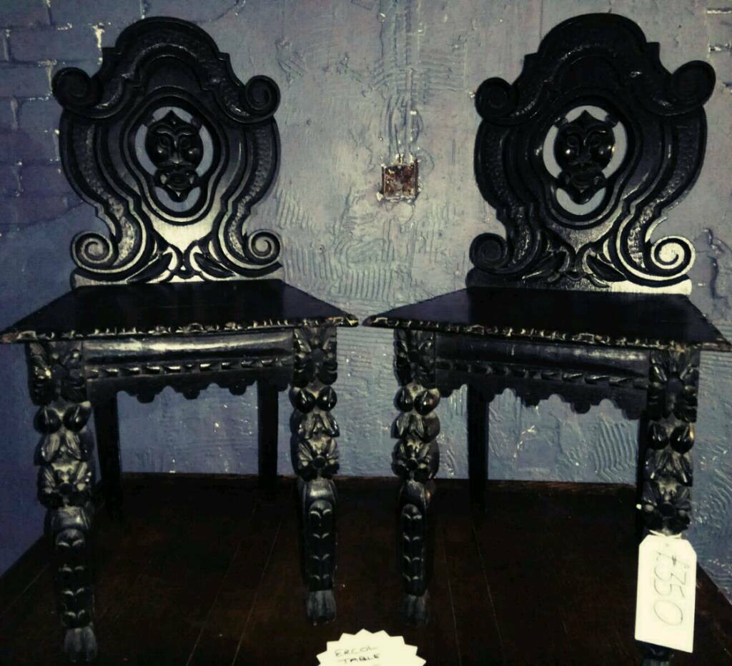 Pair of stunning gothic style carved antique chairs