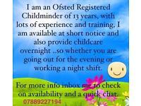 Ofsted Registered Childminder/Emergency/Overnight care