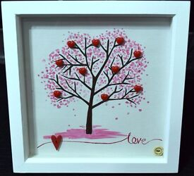 Song of my heart- Love White Shadow Box Frame *Hand painted & Hand Crafted*