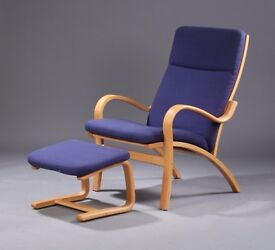 Stouby Danish vintage armchair with footstool