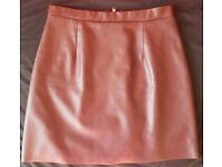 RIVER ISLAND Burgundy Leather Mini Skirt Size 10/EU 38